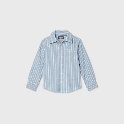 OshKosh B'gosh Toddler Boys' Long Sleeve Striped Woven Button-Down Shirt - Blue 2T