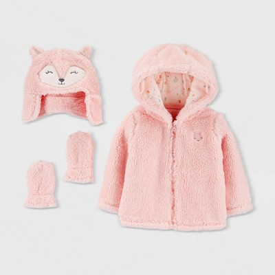 Baby Girls' Sherpa Fox Overcoat Jacket - Just One You® made by carter's Pink Newborn