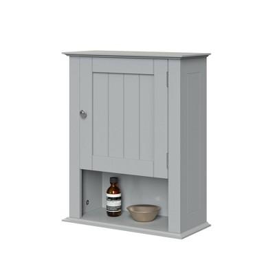 Beadboard Wall Cabinet with Open Shelf Gray - RiverRidge