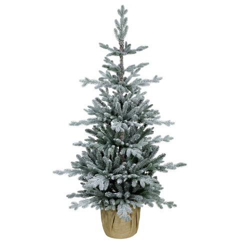 4 Foot Christmas Tree.4ft Unlit Artificial Christmas Tree Potted Slim Flocked Balsam Fir Wondershop