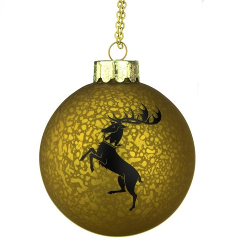 kurt adler 35 game of thrones family crest decal glass ball christmas ornament gold and black