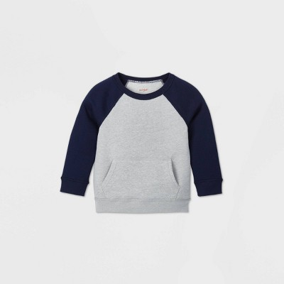 Toddler Boys' Adaptive Abdominal Access Fleece Sweatshirt - Cat & Jack™ Gray/Navy