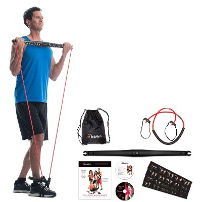 BodyGym All in 1 Portable Home Gym Full Body Exercise Resistance Bar Kit with Adjustable Resistance Band, Tape Measure, Storage Bag, & 2 Workout DVDs