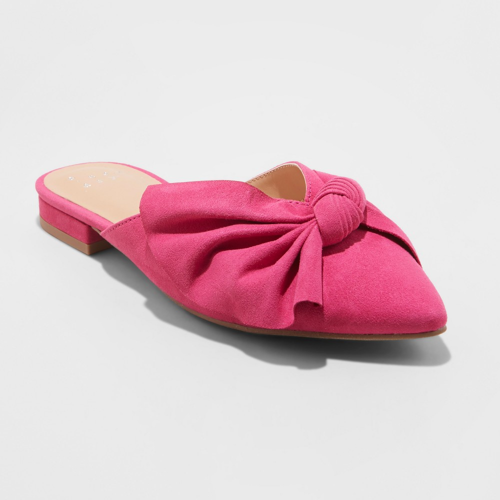 Women's Beth Bow Mules - A New Day Pink 9.5