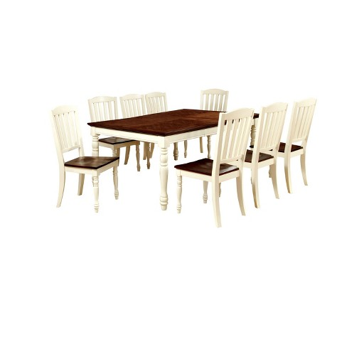 Sun Pine 9pc Cottage Style Dining Table Set Wood Vintage White And Dark Oak Target