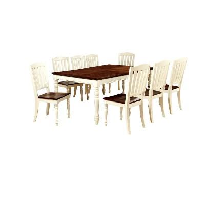 9pc LancetonCottage Style Dining Table Set Vintage White/Dark Oak   Sun U0026  Pine
