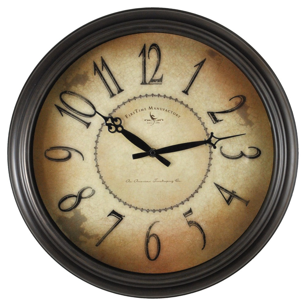 Taylor Road 18 Round Wall Clock Oil Rubbed Bronze - FirsTime
