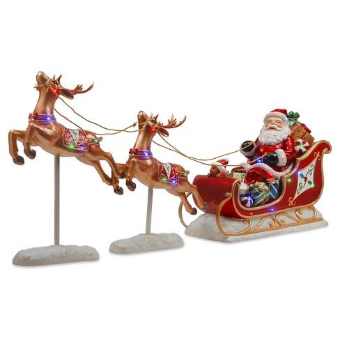 2 5 led lit reindeer pulling sleigh with santa target