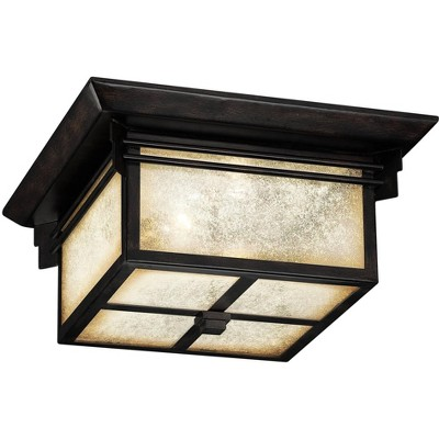 """Franklin Iron Works Mission Outdoor Ceiling Light Fixture Walnut Bronze 15"""" Frosted Cream Glass Damp Rated for Exterior House"""