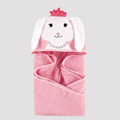 Hudson Baby Girls' Animal Face Hooded Towel, Bunny - Pink 0-24M