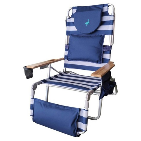 Groovy Ostrich Deluxe Padded 3 N 1 Outdoor Lounge Reclining Beach Chair Striped Blue Machost Co Dining Chair Design Ideas Machostcouk