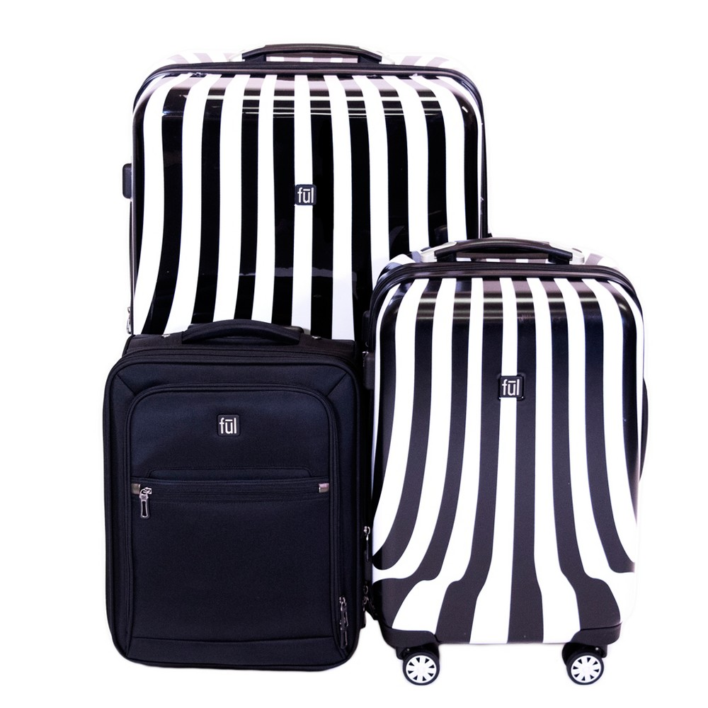 Image of FUL 3pc Hardside Spinner Luggage Set - Black/White Swirl
