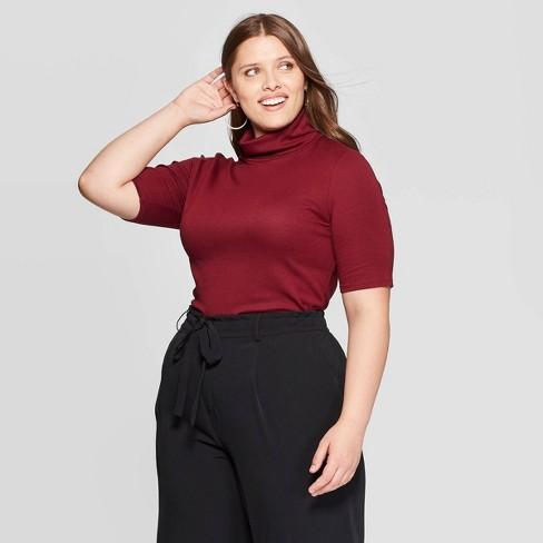 Women's Plus Size Elbow Sleeve Turtleneck T-Shirt - Ava & Viv™ - image 1 of 2