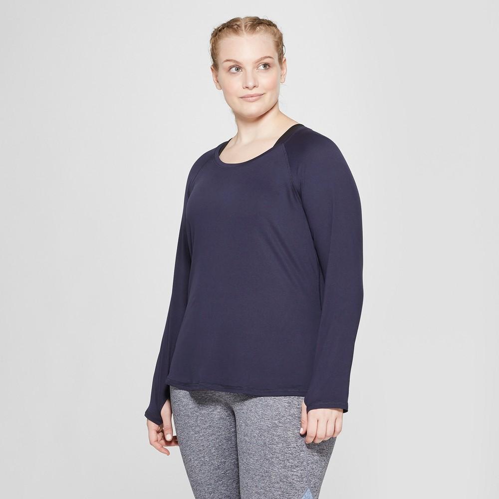 Women's Plus Size Long Sleeve Soft T-Shirt- C9 Champion Xavier Navy 4X