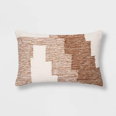 Modern Tufted Geometric Lumbar Throw Pillow Neutral - Project 62™