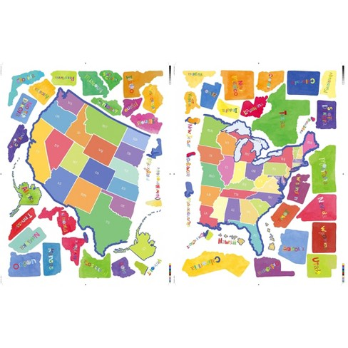 Wallies® Wall Play US State Map Peel & Stick Décor : Target