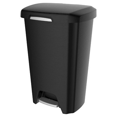 Hefty 12.5 Gallon Step On Trash Can - Black With Stainless Steel