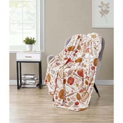 Kate Aurora Living Thanksgiving Harvest Kitchen Ultra Soft & Plush Autumn Throw Blanket Cover