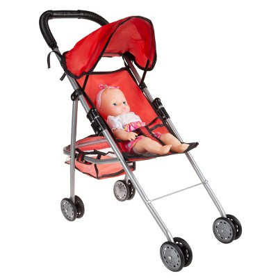 """Toy Stroller for 10"""" Baby Dolls- Foldable, Lightweight Umbrella Stroller with Rear Basket and Canopy for Girls, Boys, Kids and Toddlers by Toy Time"""