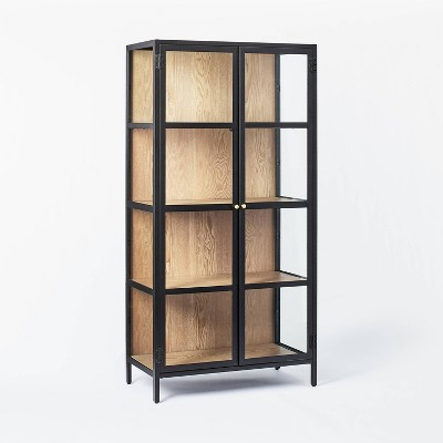"""60"""" Crystal Cove Glass Cabinet Black - Threshold™ designed with Studio McGee"""