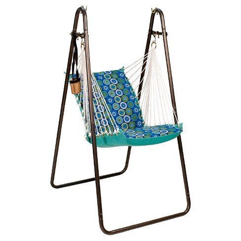 Algoma Soft Comfort Hanging Chair with Stand - Jax Lagoon/Lagoon Solid - image 1 of 1