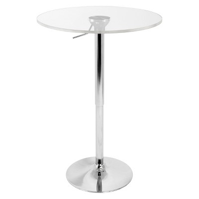 Adjustable Bar Table Acrylic/Silver/Clear - LumiSource