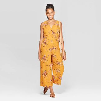 Women's Floral Print Sleeveless V-Neck Side Button Cropped Jumpsuit - Xhilaration™ Yellow XS