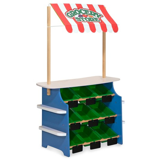 Melissa & Doug Wooden Grocery Store and Lemonade Stand - Reversible Awning, 9 Bins, Chalkboards image number null