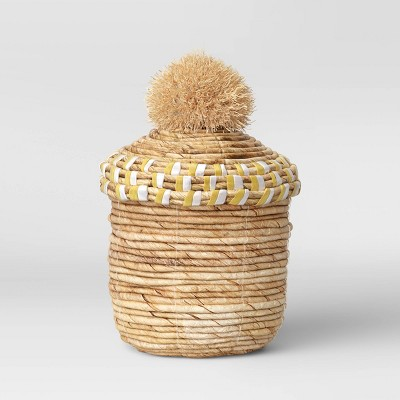 "9.5"" x 6.7"" Decorative Woven Lidded Basket Natural - Opalhouse™"