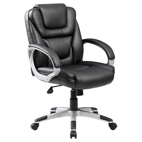 NTR Executive Mid Back Leatherplus Chair Black - Boss Office Products - image 1 of 4