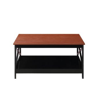 "Oxford 36"" Square Coffee Table Cherry Brown/Black - Johar Furniture"