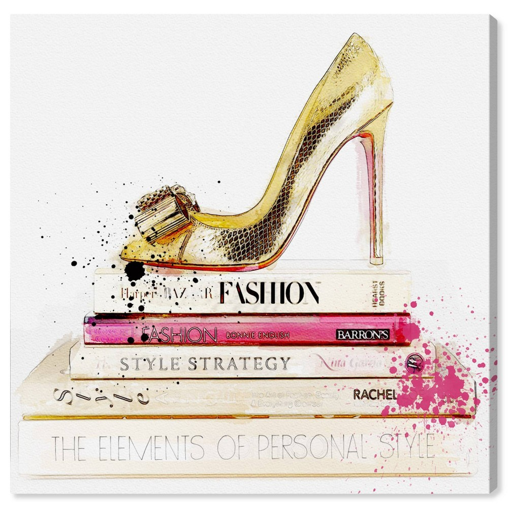 """Image of """"12'' x 12"""""""" Shoe and Fashion Books Unframed Wall Canvas Gold/White - Oliver Gal"""""""