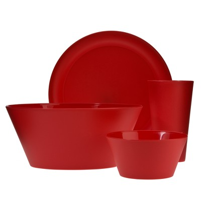 Creative Bath Polypropylene 13pc Dinnerware Set Cherry