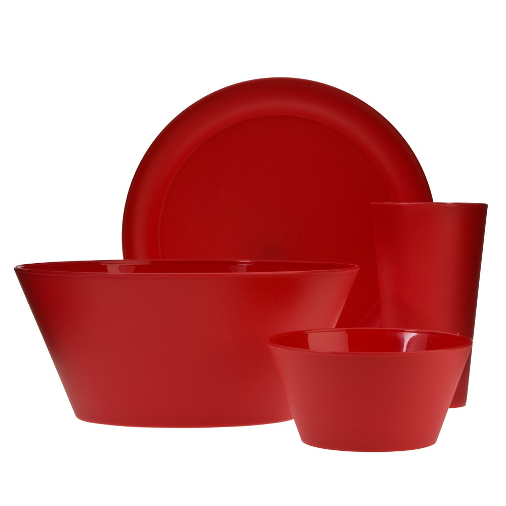 Image of Creative Bath Polypropylene 13pc Dinnerware Set Cherry