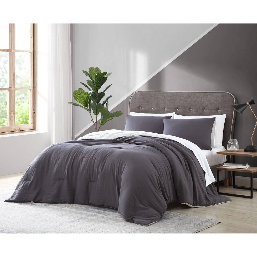 King 7pc Arica Enzyme Washed Comforter Set Gray Gray Geneva Home Fashion