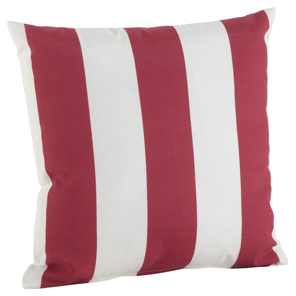 Red Stripe Pattern Indoor/Outdoor Throw Pillow (21) - Saro Lifestyle