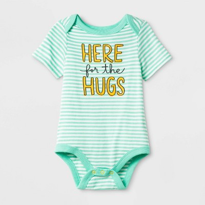 "Baby Short Sleeve ""Here for the Hugs"" Bodysuit - Cat & Jack™ Green Newborn"