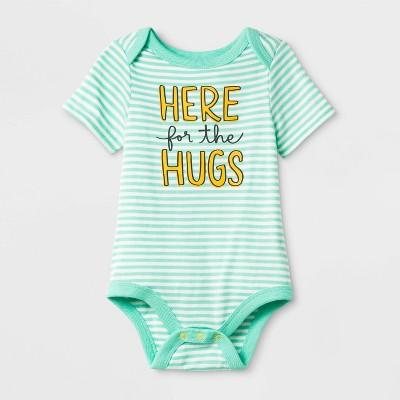 """Baby Short Sleeve """"Here for the Hugs"""" Bodysuit - Cat & Jack™ Green 12M"""