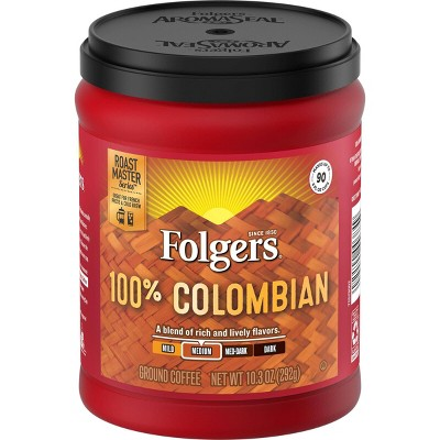 Folgers 100% Colombian Medium Dark Roast Ground Coffee - 10.3oz