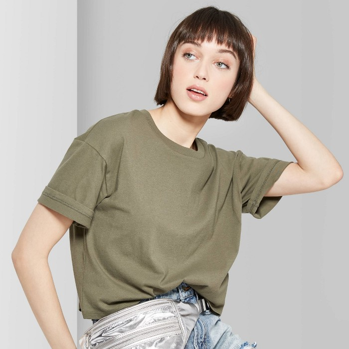 Women's Oversized Short Sleeve Crewneck Boxy T-Shirt - Wild Fable™ Olive L - image 1 of 3