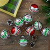 Northlight 9ct Shiny Silver with Red and Green Glitter Striped Vintage Christmas Ornaments 2.75 (55 mm) - image 2 of 2