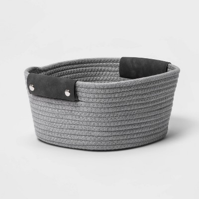 "11"" Small Coiled Rope Basket Gray - Threshold™"