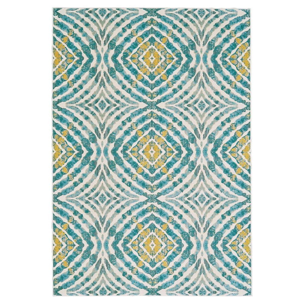 Geometric Loomed Accent Rugs Teal