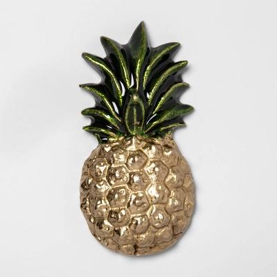 4.6 x2.3  Enamel Pineapple Wall Sculpture Light Gold - Opalhouse™
