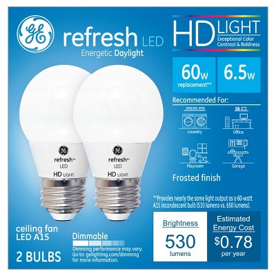General Electric 2pk Refresh Daylight HD 60W Equivalent A15 Ceiling Fan LED Bulb Frost