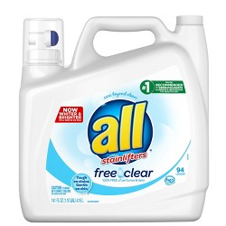 all Ultra Free Clear HE Liquid Laundry Detergent 141oz- 94 loads