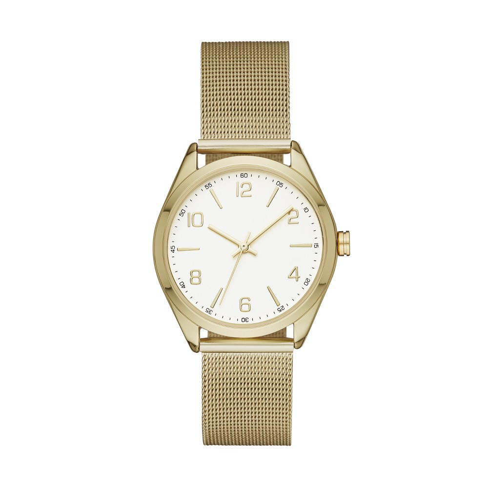 Women's Mesh Strap Watch - A New Day Gold
