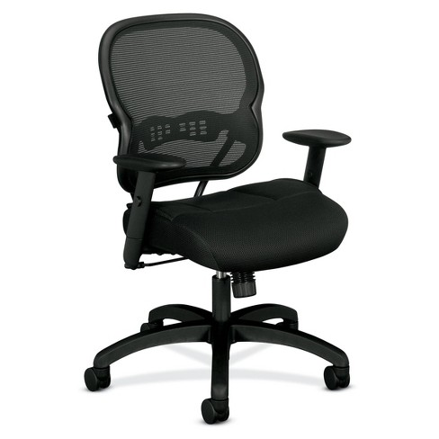 Wave Mid Back Office Chair with Adjustable Arms Black - HON - image 1 of 5