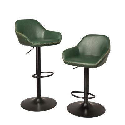 Set of 2 Mid-Century Leatherette Swivel Barstool Hunter Green - Glitzhome