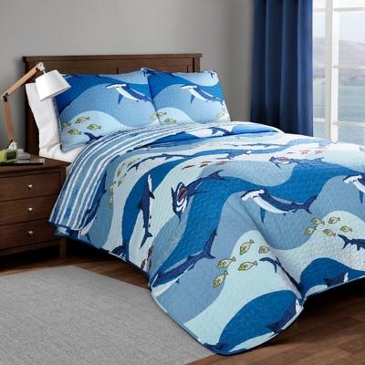 Shark Allover Quilt Set Blue - Lush Décor